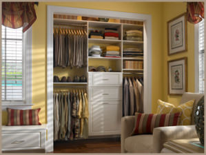 reach-in closet keeps a bedroom organized